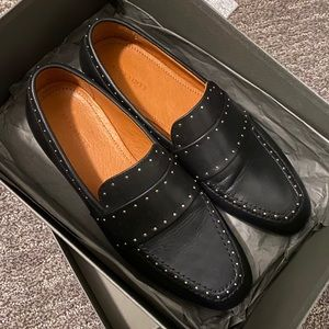 All Saints Rena black Studded Loafer New In Box